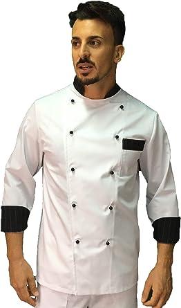 Giacca Cuoco da Cucina tessile astorino Ricamo Gratuito Casacca Chef Donna Tricolore Made in Italy