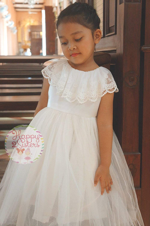 6d806b1600fd Amazon.com: Ivory flower girl dress junior bridesmaid dress Lace flower  girl dress First communion dress: Handmade