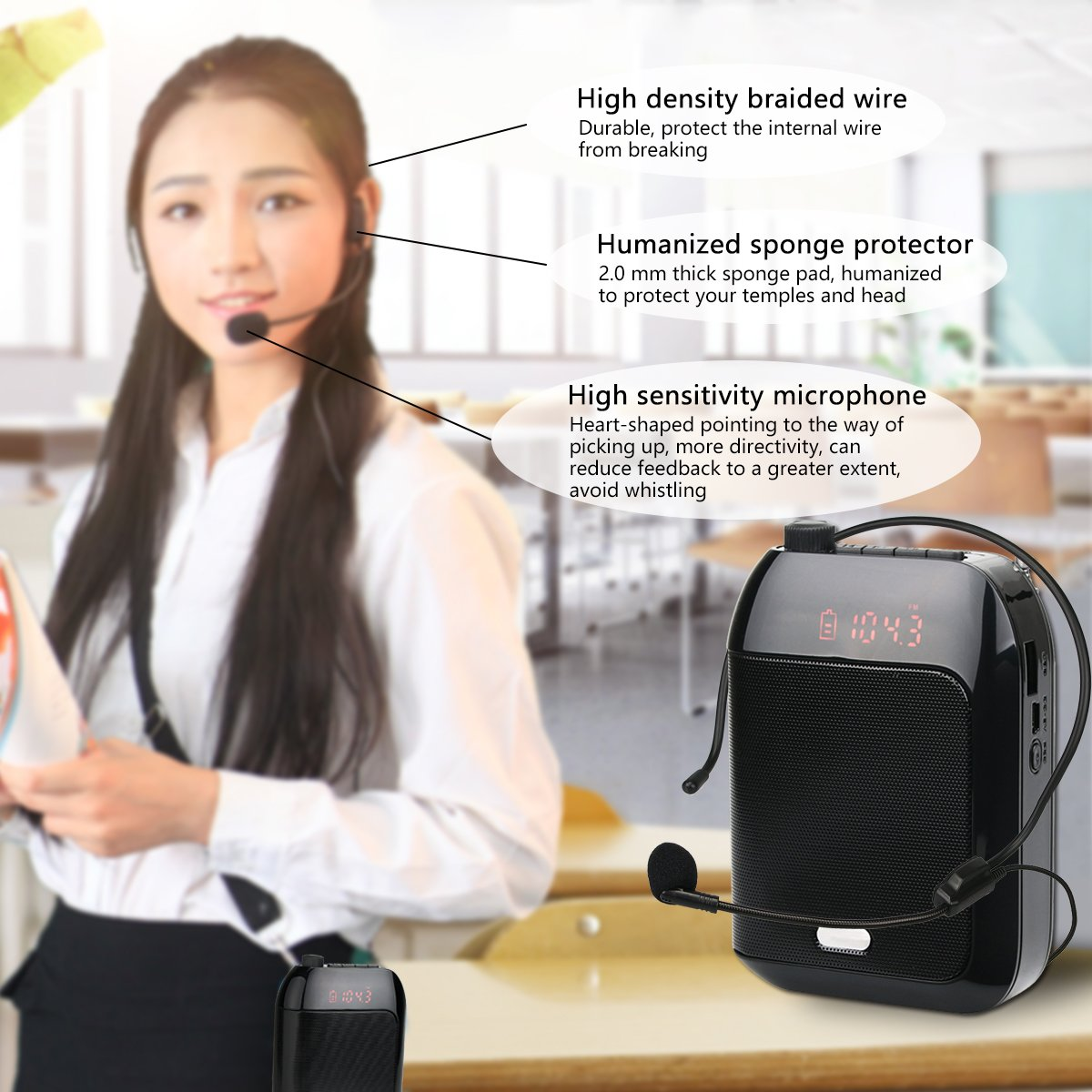 Retekess T9 15W Portable Voice Amplifier Rechargeable Mini With Wired Microphone Headset FM AUX In Jack MP3 Player Voice Recording for Teachers Coaches Training Fitness Class(Black) by Retekess (Image #7)