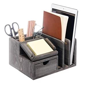 Liry Products Gray Rustic Wood Desk Organizer Storage Cabinet Mail File Paper Sticky Note Memo Pad Folder Office Supplies Caddy Tabletop Holder Accessory Sorter Multiple Compartments with Drawer Home
