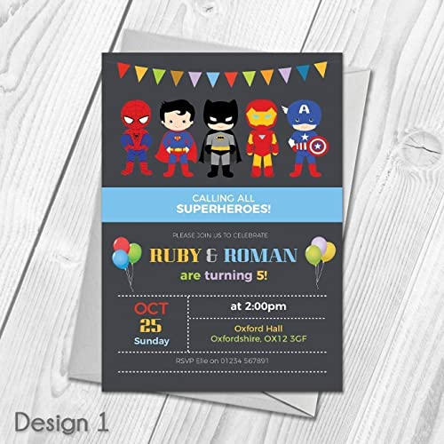 Personalised Superhero Invitations Joint Or Single Birthday Party