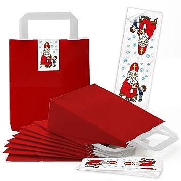 10 pequeñas bolsas de papel weihnac rojas htstüten con asa + con ...