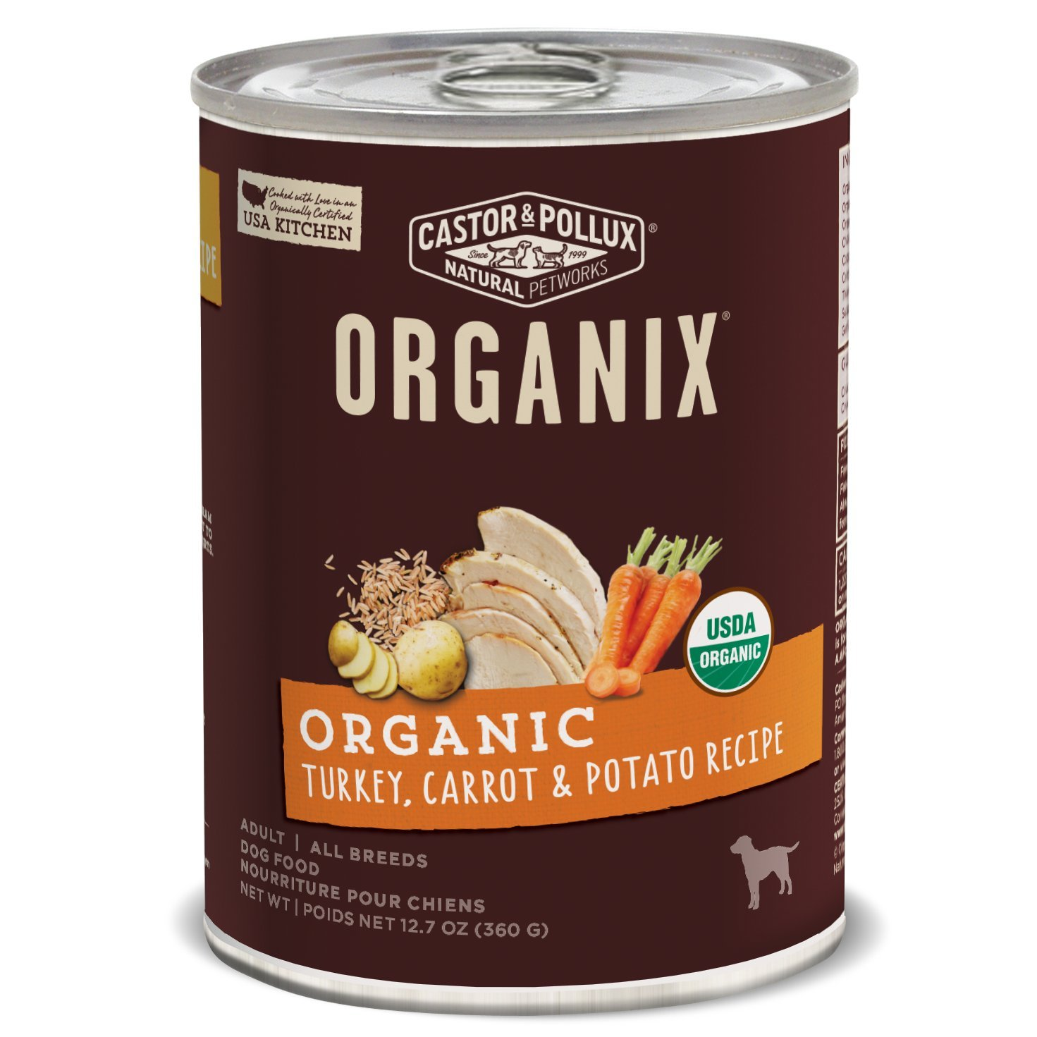Castor & Pollux Organix Organic Turkey, Carrot & Potato Recipe, 12.7 oz, Case of 12 Cans