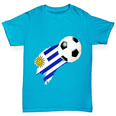 Twisted Envy Boys Uruguay Football Flag Paint Splat Cotton T-Shirt Comfortable and Soft Classic Tee with Unique Design Age 9-11 Green