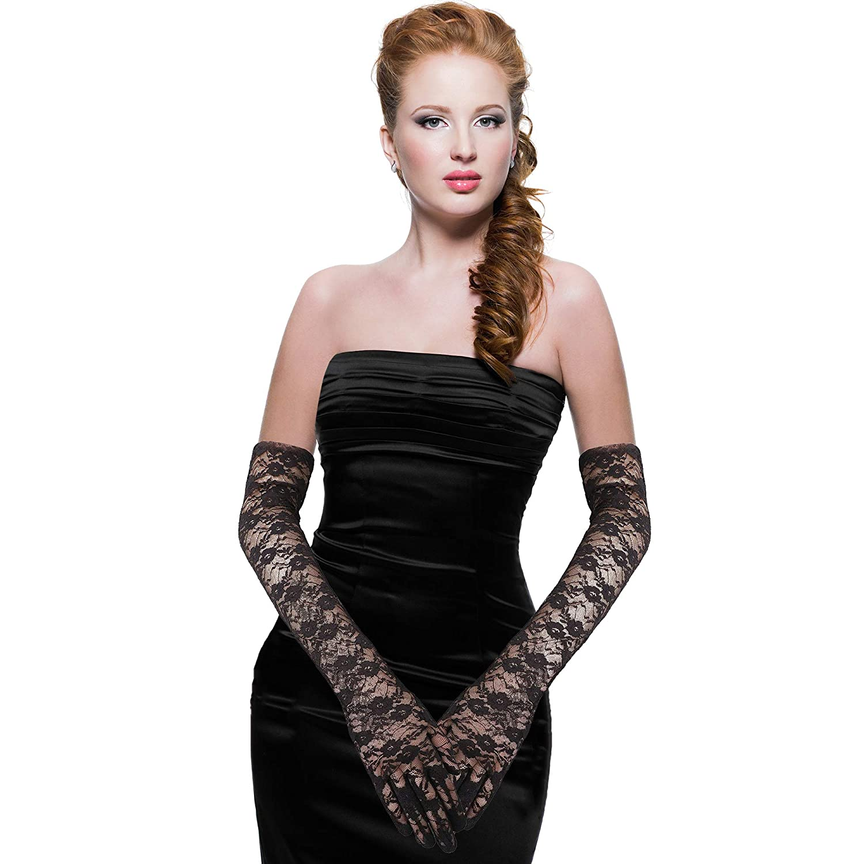 Skeleteen Elegant Lace Elbow Gloves 1920s Fashion Opera Length Tea Party Black Wedding Gloves