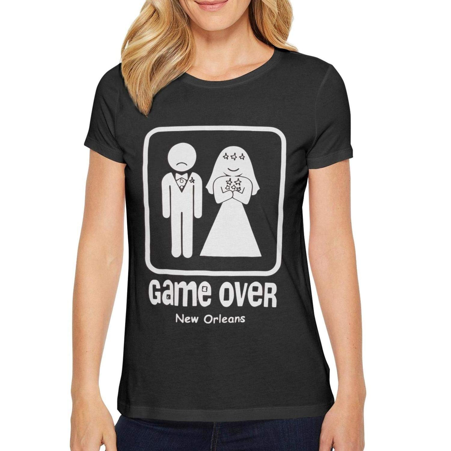 HASDHQQD T Shirts for Women Wedding-Game Over Women Short Sleeve t-Shirts tee Printed Fashion Personalized