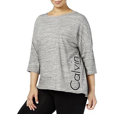 49b1f8b00e831 Calvin Klein Performance Womens Plus Logo Casual Top Gray 3X at ...