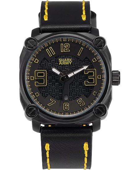 SHARK ARMY SAW226 Reloj Cuadrado Hombre Cuarzo de Cuero Negro