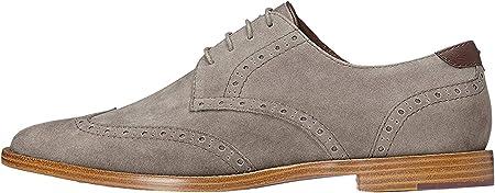Suave textura efecto ante,Suela de madera,Cierre: Cordones,Zapatos Brogue,Detalle en contraste en el