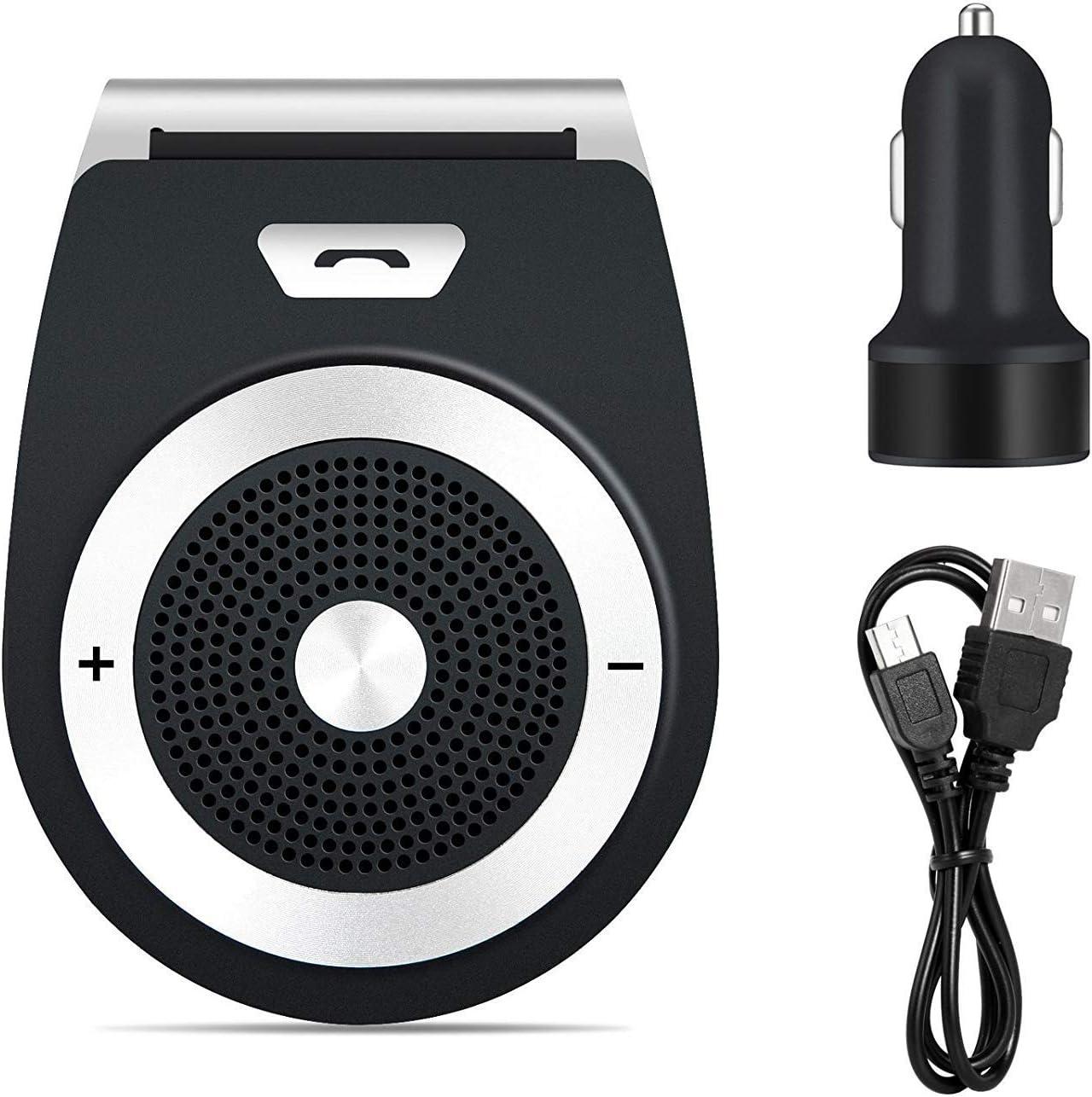 ADUDS Manos Libres Bluetooth 4.1 Coche Kit, reducción de Eco y Ruido de Fondo para la Visera Soporta GPS,Universal, Música, Altavoz Inalámbrico para Teléfonos Móviles, conectar Dos teléfonos