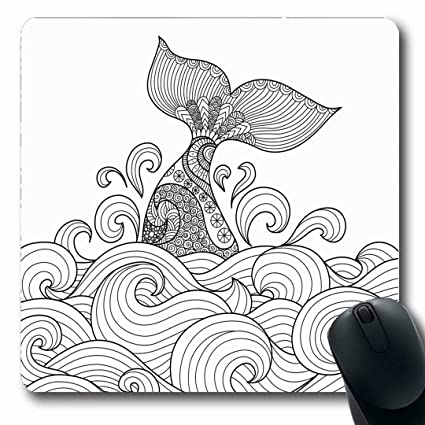 Amazon Com Ahawoso Mousepads Wave Adult Whale Tail Wavy Ocean