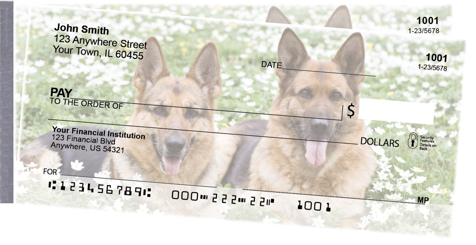 German Shepherd Side Tear Personal Checks