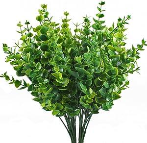 Artificial Shrubs, Hogado 4pcs Fake Plastic Greenery Plants Eucalyptus Leaves Bushes Flowers Filler Indoor Outside Home Garden Office Verandah Decor