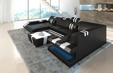 Sofa Dreams Piel Salón Paisaje Apollonia U Forma de Negro ...