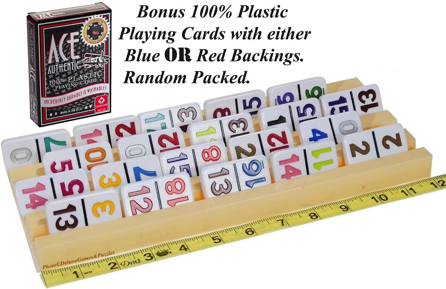 Plastic Trays Racks for Dominoes OR Playing Card /_ Dual Use /_ Set of 4 /_ Bonus 1 Deck of Ace 100/% High Quality Plastic Playing Cards Deluxe Games and Puzzles Random backing color of Red or Blue