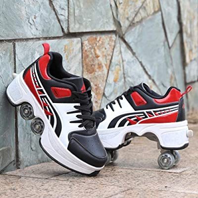 BHDYHM Roller Skates Shoes 2-in-1 Multi-Purpose Roller Skates Adjustable Skates with 4 Wheels Rollerblades Inline Skates : Sports & Outdoors