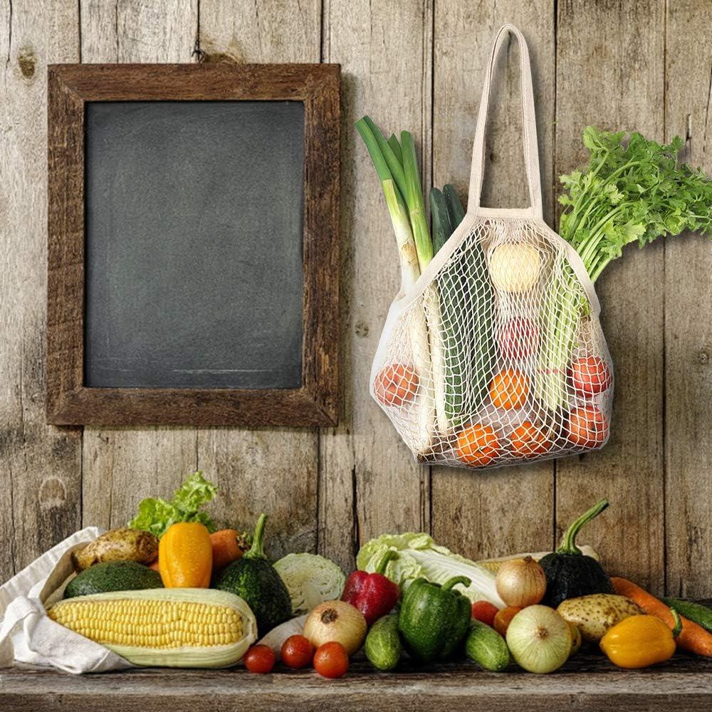 de malla Powcan Bolsa de la compra de 5 unidades de red de algod/ón con mango largo lavable playa picnic juguetes frutas verduras reutilizable para compras productos de almacenamient