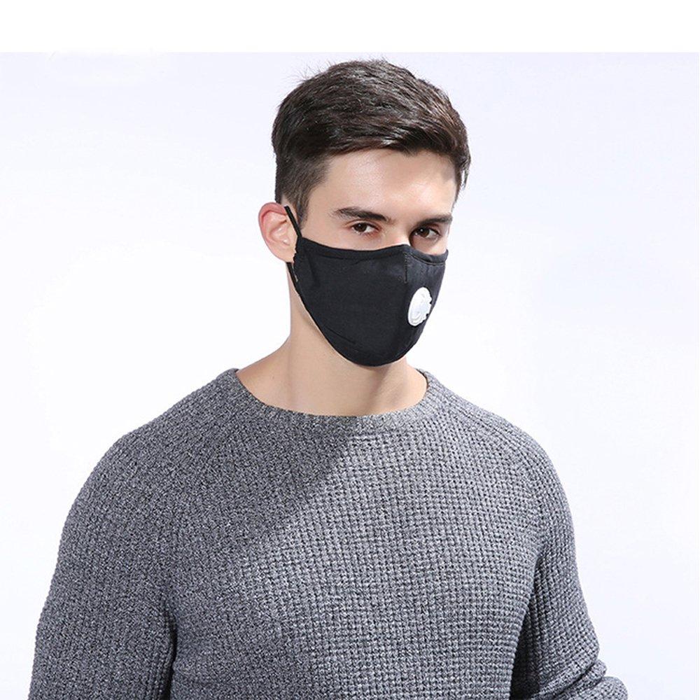PBFONE - 2 mascarillas anticontaminación para el polvo, lavables, reutilizables, de algodón, unisex, para ciclismo, correr, viajes, deporte