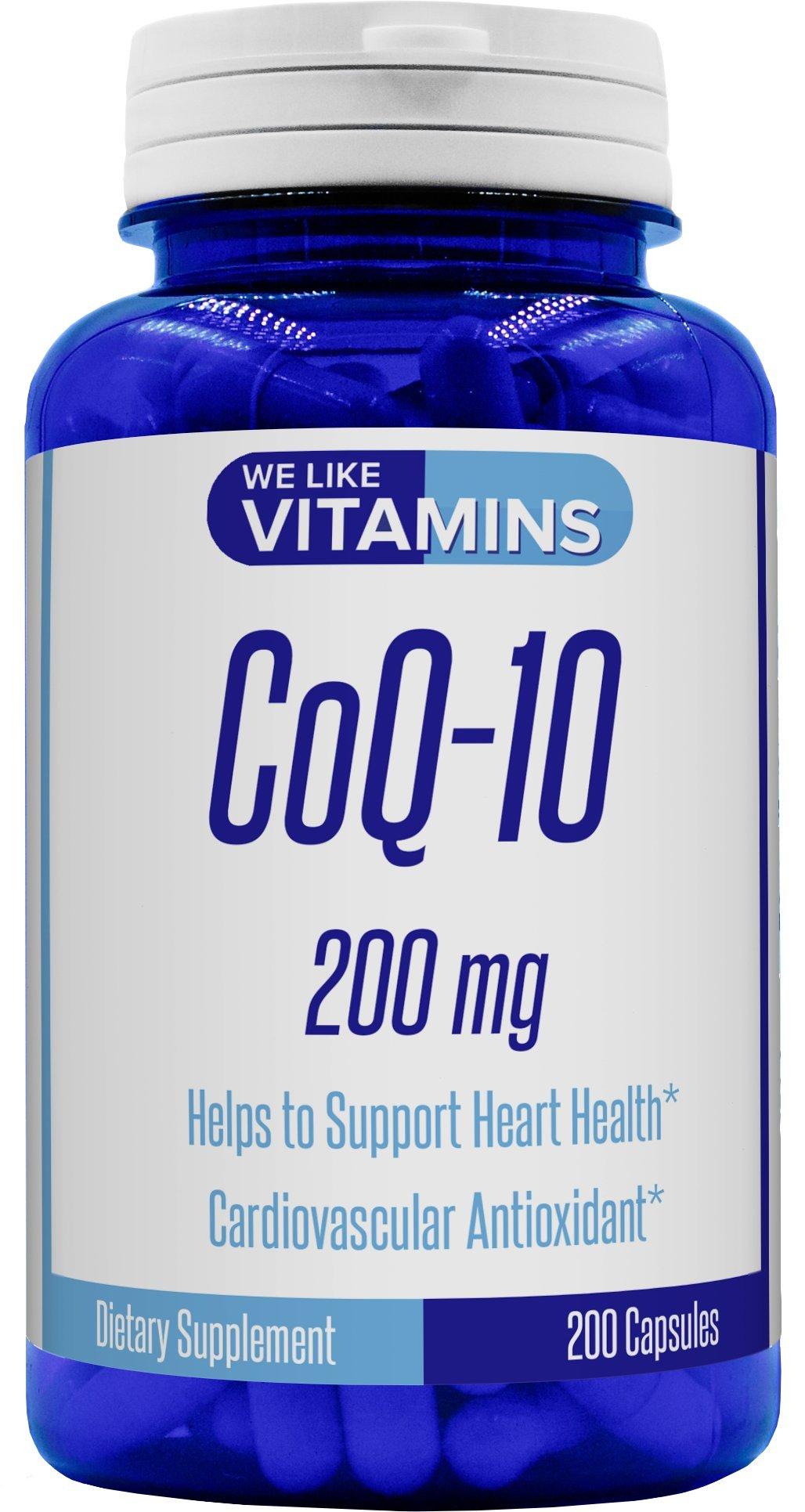 CoQ10 200mg 200 Capsules (Non GMO & Gluten Free) CoQ-10 - Antioxidant Co Q-10 Coenzyme Supports a Healthy Heart