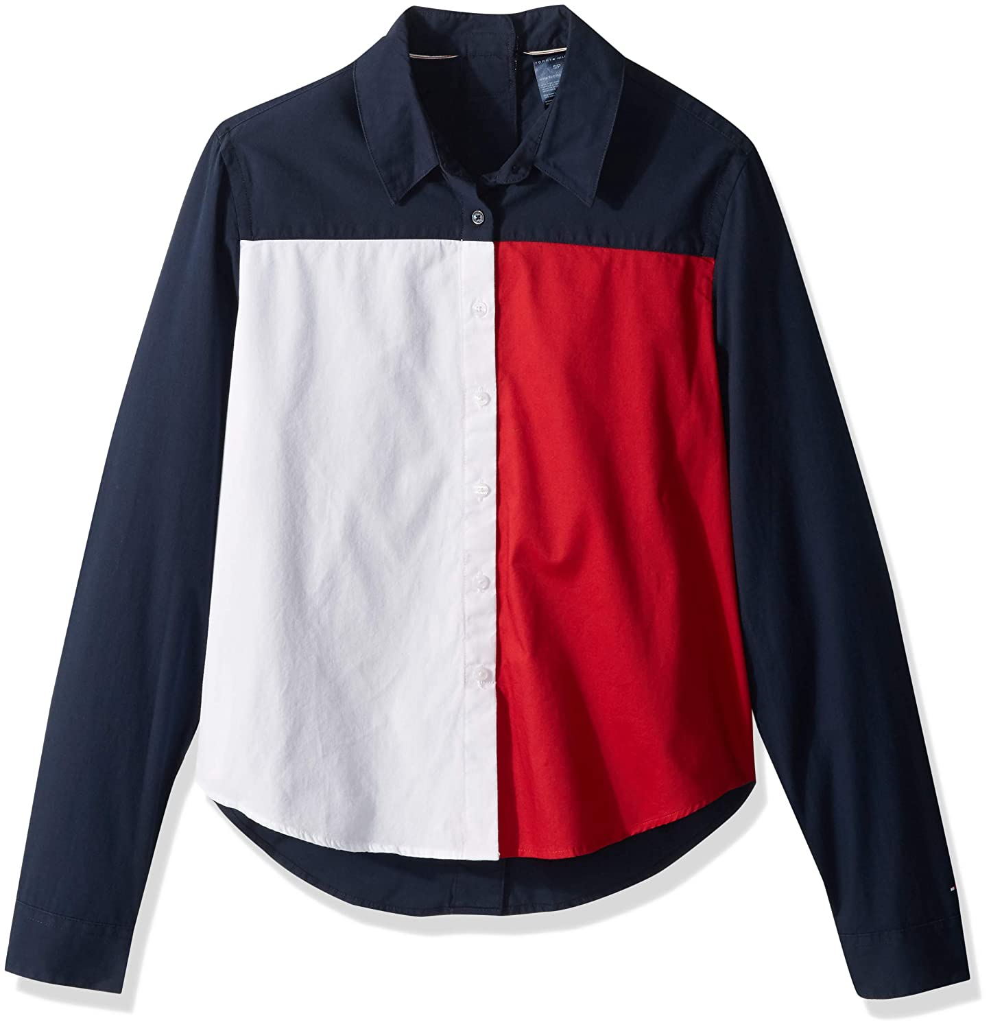 83b84e58 Tommy Hilfiger Adaptive Women's Seated Fit Flag Shirt with Adjustable  Closure at Amazon Women's Clothing store: