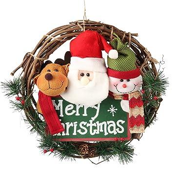 d fantix 14 inch merry christmas wreath decor small grapevine wreath front door wreaths - Grapevine Garland Christmas Decorations