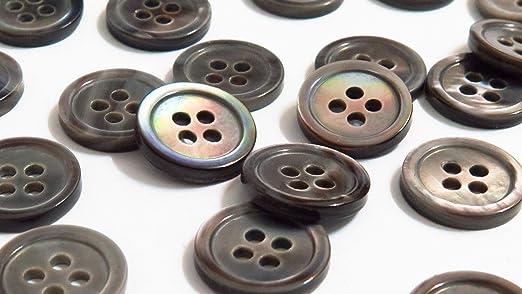Auténtica Mother of Pearl blusa (Natural botones de camisa/blusa de/gris), azul (unidades 15 piezas) ø12.0 mm 4 agujeros (negro labios fregona): Amazon.es: Hogar