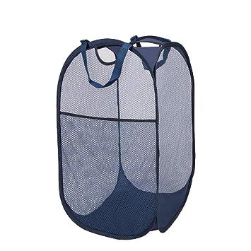 Eletorot Wäschekorb Wäschebox Wäschesammler Pop-Up Wäschekiste mit Masche,  für Kinderzimmer, Studentenwohnheim oder Reise(Marine)