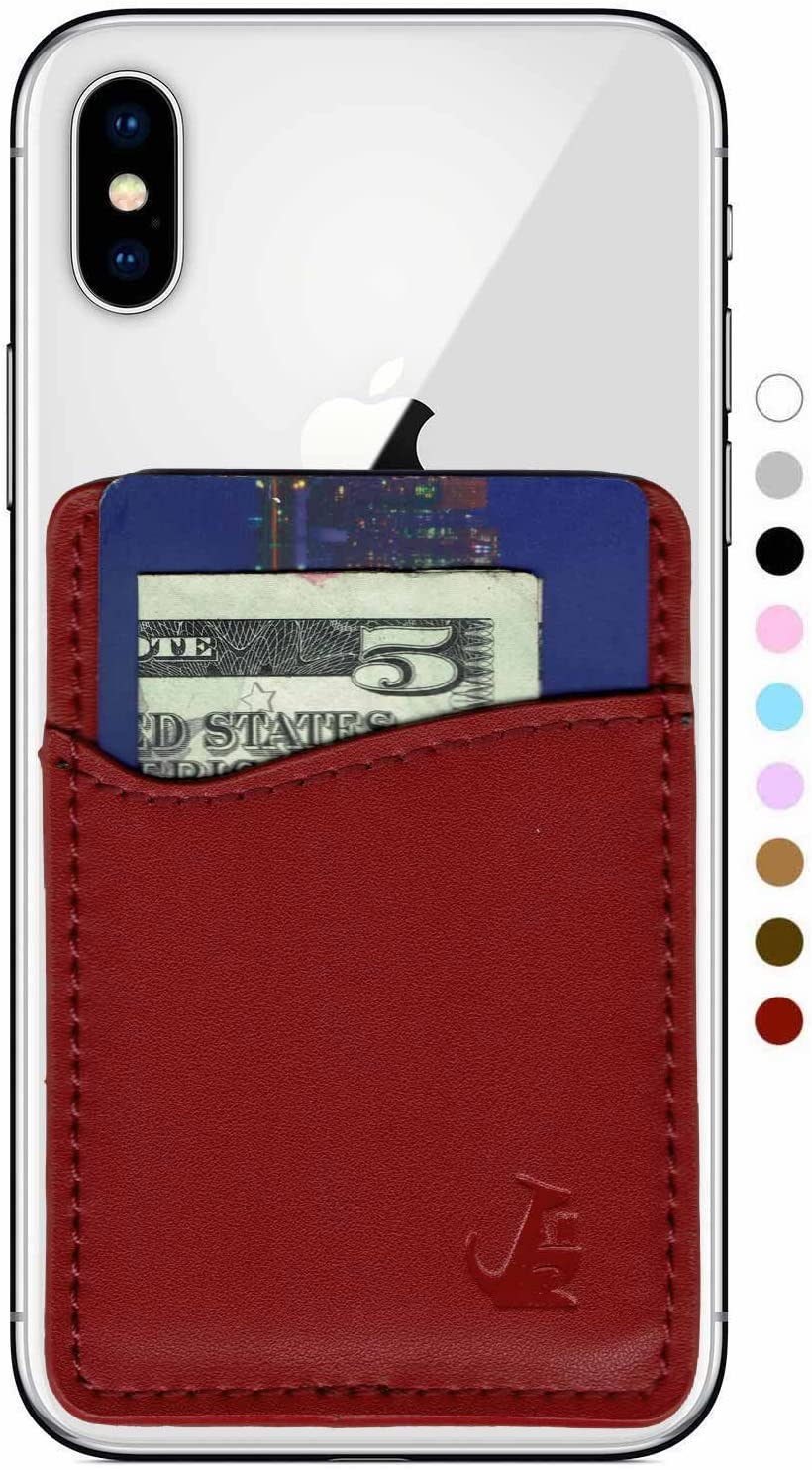 WALLAROO Premium Leather Phone Card Holder Stick On Wallet for iPhone and Android Smartphones (Maroon Red Leather)