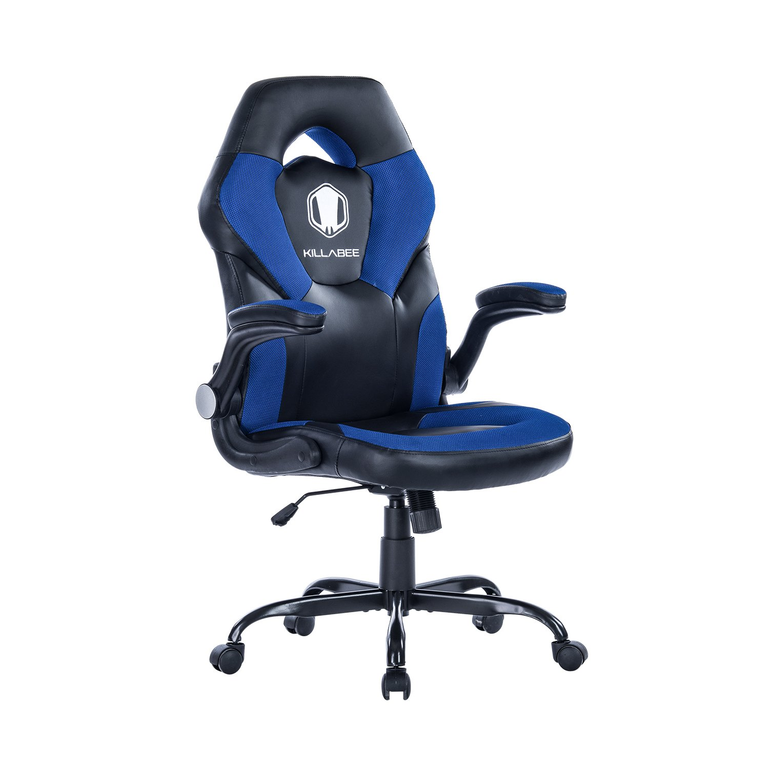 VON RACER Racing Style Gaming Chair - Flip-Up Arms Ergonomic Leather & Mesh Computer Desk Office Chair (Blue-9016)
