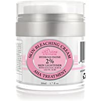 Divine Derriere Skin Lightening 2% Hydroquinone Bleaching Cream with 6% AHA Glycolic Acid and Lactic Acid - Fade Dark Spots, Freckles, Hyperpigmentation, Melasma and Discolorations. 1.7 oz / 50ml
