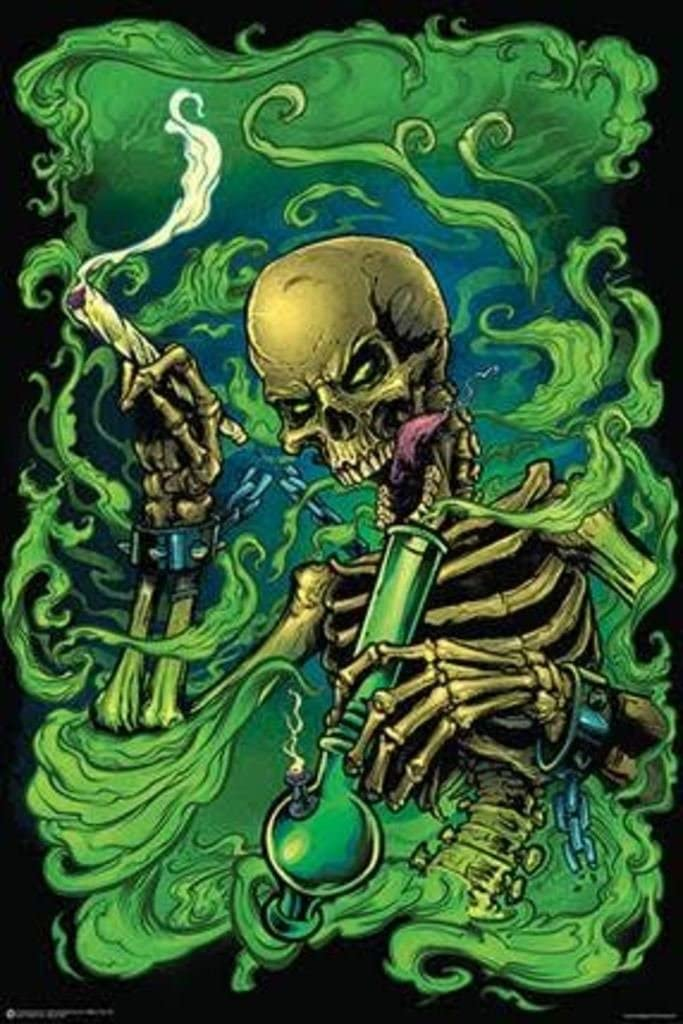 High as Hell Sinister Stoned Skeleton Smoking Joint Holding Bong Cool Wall Decor Art Print Poster 24x36