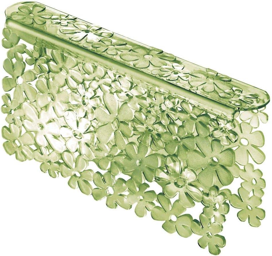 mDesign Set da 3 Tappetini per lavello cucina in plastica Grande tappetino lavandino protettivo con design floreale blu Accessori cucina per lavello a doppia vasca