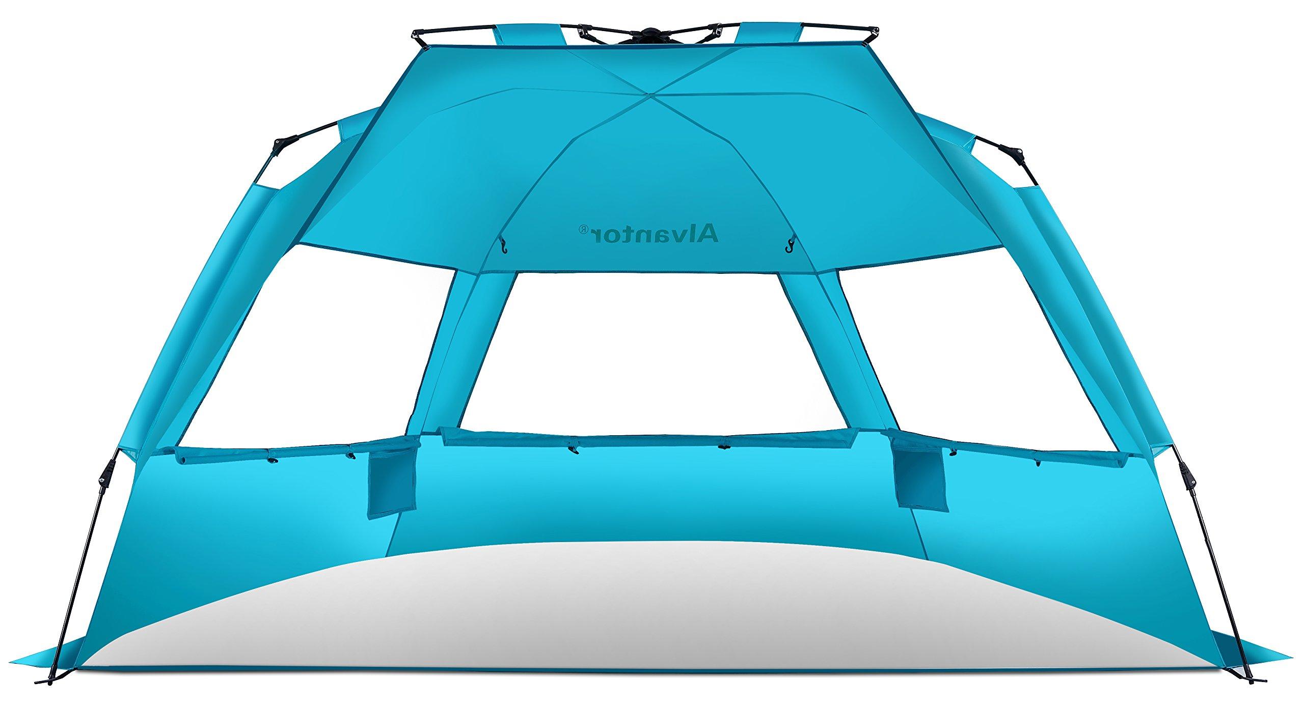 Alvantor Beach Tent Super Bluecoast Beach Umbrella Outdoor Sun Shelter Cabana Automatic Pop Up UPF 50+ Sun Shade Portable Camping Hiking Canopy Easy Setup Windproof Patent Pending 3 or 4 Person
