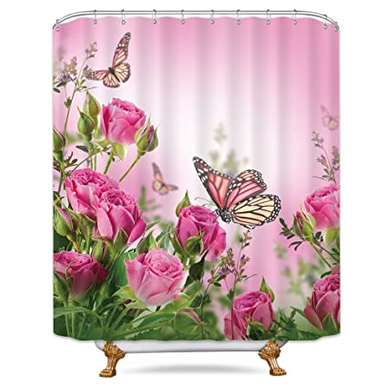 Riyidecor Pink Butterfly Spring Shower Curtain 72x78 Inch 12 Pack Metal Hooks Floral Four Season