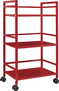 Altra Marshall 3 Shelf Metal Rolling Utility Cart, Red