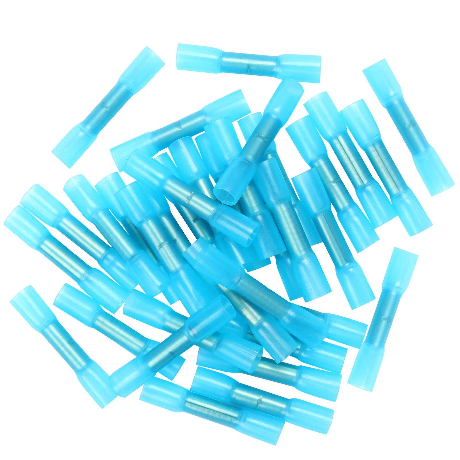 100pcs 16-14 Gauge Insulated Heat Shrink Butt Wire Crimp Connectors Terminals Blue