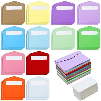 120 sobres pequeños de colores con tarjetas de visita en ...