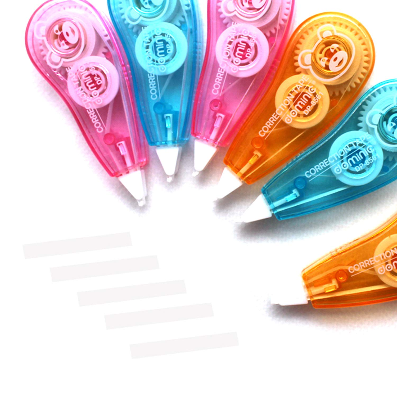 Cintas Correctoras 6m x 5mm Caja de 24 Office Estudiante Suministros,3 Colores son Aleatorios