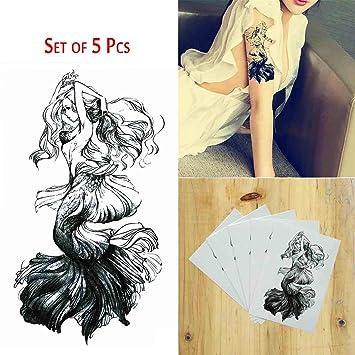 bd6aed79a Amazon.com : COKOHAPPY 5 Sheets Temporary Tattoo Traditional Black Mermaid  for Women Men : Beauty