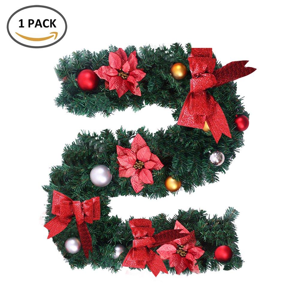 Cherry Juilt Christmas Garland Decorations Hanging Green Xmas Wreath Garland Wall Door Stairs Ornaments Indoor Outdoor 6ft Red