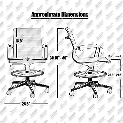 2xhome – White Modern Ergonomic PU Leather Mid Back Ribbed Drafting Office Chair with Chrome Armrest Foot Rest Tiltable Seat Rolling Chair