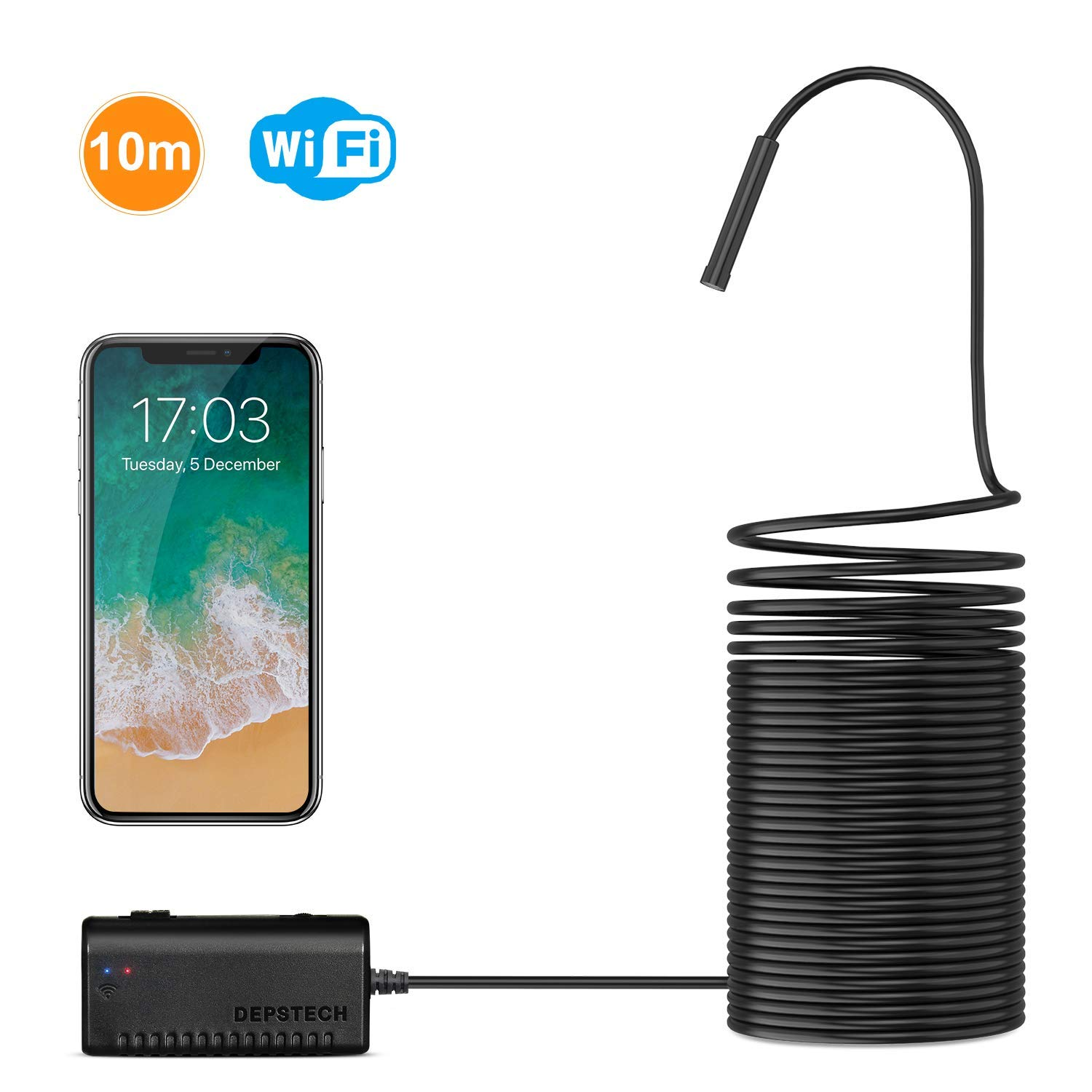 Wireless Endoscope, DEPSTECH WiFi Borescope Inspection Camera 2 0  Megapixels HD Snake Camera for Android and iOS Smartphone, iPhone, Samsung,  Tablet
