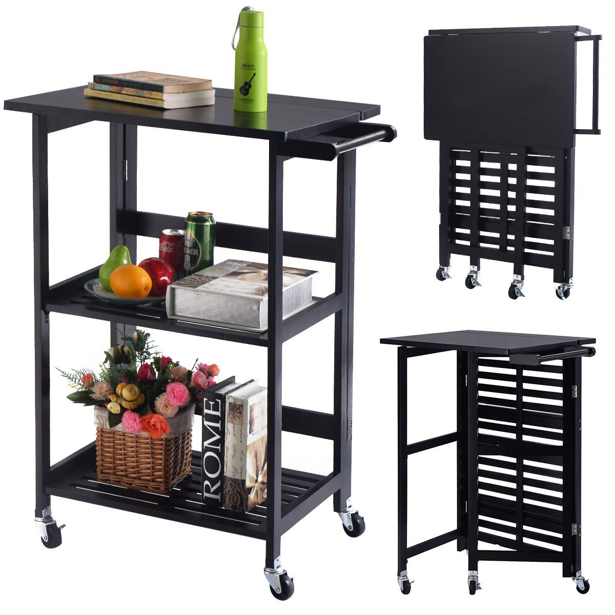 PROSPERLY U.S. Product Foldable Wood Kitchen Cart Utility Serving Rolling Cart w/Casters Black New