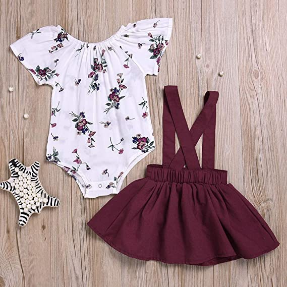 41f3a6982 Amazon.com: Amberetech Baby Girl Suspender Skirt Outfit Short Sleeve Floral  Romper Pinafore Dress Two-Piece Suits: Clothing
