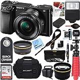 Alpha a6000 24.3MP Mirrorless Camera 16-50mm Power Zoom Lens 64GB Accessory Kit (black)