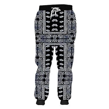 PATERLIFE Pantalones De CháNdal Impresos De Paisley Negro con ...