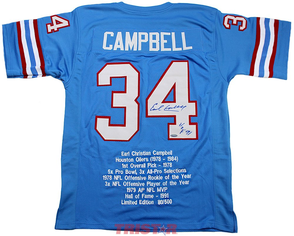 a93c8289d ... retired player throwback jersey light blue 4025c 36ed2  ebay earl  campbell signed autographed houston oilers custom blue stat jersey  inscribed hof 91 ...