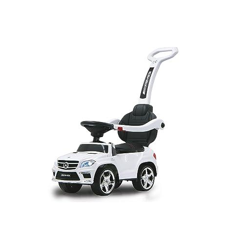 Jamara 460244 - Rutscher Mercedes GL63AMG weiß 2in1 – Kippschutz, Kunstledersitz, Kofferraum, Schub- und Haltestange mit Rückenlehne / Schutzbügel, Scheinwerfer vorne / hinten, Motorsound, Hupe, Musik