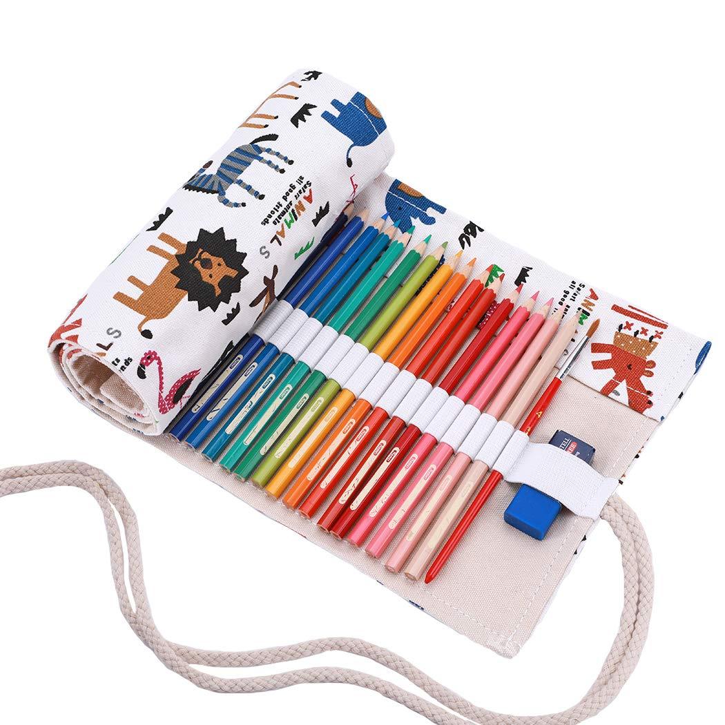 Amoyie Leinwand Stifterolle für 36 Buntstifte und Bleistifte, Hand Roll-up Federmäppchen, Aufbewahrungstasche für Künstler, Verpackung Mehrzwecktasche für Reisen / Schule / Büro / Kunst (keine Schreibzeuge im Lieferumfang)