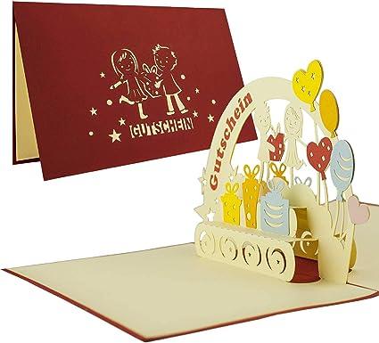 Carte Pop Up 3d Bon Cadeau Parfait Pour Accompagner Un Cheque Ou Un Bon D Achat